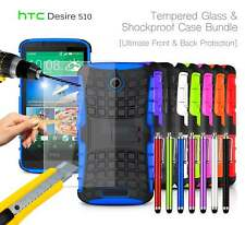 HTC Desire 510 Shockproof Armour Case Cover, Stylus & Tempered GLASS