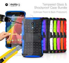 Motorola Moto G 2nd Gen - Shockproof Strong Silicone Stand Case & Tempered GLASS