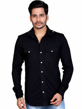 LUCfashion Men's Casual Full sleeve Shirt (SN202BLK)