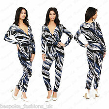 Ladies Women's Blue Printed All In One Celeb Slim Jumpsuit Playsuit Onesie 8-14
