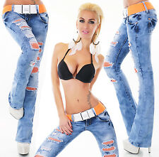 Sexy Women's Wash Blue Bootcut Stretchy Jeans Trousers  Incl. Belt Y 006