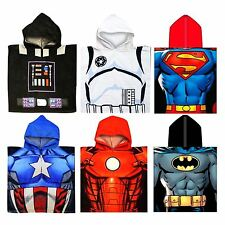 KIDS OFFICAL DISNEY MARVEL HOODED TOWEL PONCHO STAR WARS AVENGERS BATMAN