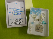 FIRST HOLY Communion Keepsake Key Charm Gift Box Rosary Beads Pearl Cross Heart
