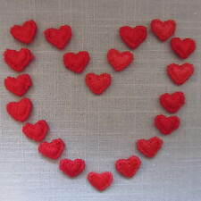 10/30/50 RED Tiny Embroidered Heart Iron On/Sew On Applique Embellishment Motifs