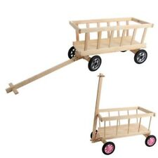 Wagon Natural Wood Pull Cart Transport Cart Wagon Garden Trolley Wooden Car