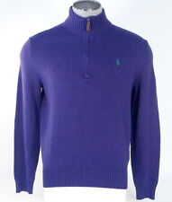 Polo Ralph Lauren Purple Half Zip Mock Neck Cotton Sweater Green Pony Men's NWT