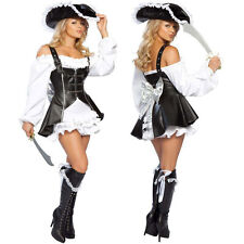 Sexy Damen Piratenkostüm Party Kostüm Pirat Karibik Piratin Piratenbraut Kleid