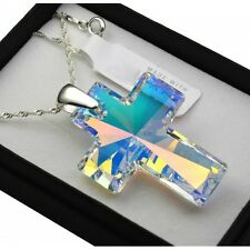 925 Silver Necklace 40mm Cross Crystals from Swarovski®