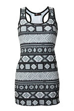 Women's Mono Ethnic Aztec Tribal African Print Long Vest Tank Top Tee Size 8-22