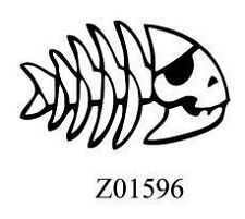 STICKER AUTOCOLLANT SKULL FISH POISSON PIRATE   STICKERS VYNIL TUNING PAREBRISE