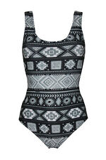 Mono Ethnic Aztec Tribal African Print Swimsuit Bodysuit Leotard Top Swimwear