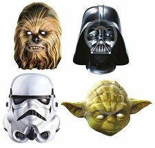 STAR WARS CARD FACE MASKS DARTH VADER #YODA CHEWBACCA FANCY DRESS ACCESSORY