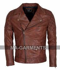 New Mens Vintage Brown Black Waxed Leather Jacket - 100% Money Back Guarantee