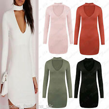 Ladies Women's Long Sleeve Keyhole Bodycon Choker Neck Mini Short Tunic Dress