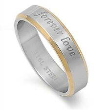 Forever Love Ring, 316L Stainless Steel, 2 Tone Style, Promise Gift w FREE Box