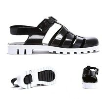 Womens JuJu Jellies Maxi T-Bar 2Tone Black/White Sandals RRP £25.99