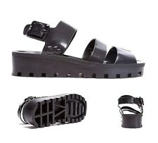 Womens JuJu Jellies Poppy Cut Out Black Sandals RRP £24.99