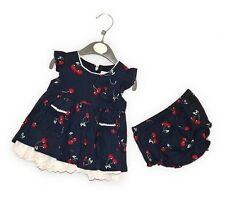 Baby Girls Cotton Dress and Pant Set Navy With Cherry Print 0-12m Pitter Patter