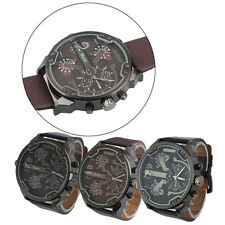 Militare Orologio Dual Time Quarzo Grande Quadrante da polso Uomo Sports Oulm IT