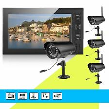 "Outdoor Wireless DVR CCTV Security Camera System +7"" LCD Monitor Night Vision"
