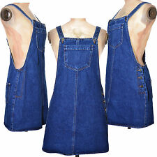 Denim dungaree dress pocket front pinafore buttoned Cotton UK Size 8 10 12