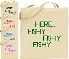 Here Fishy Fishy Cotton Tote Shopping Bag Gift Xmas Fun Fisherman Fishing  Cool