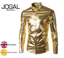Mens Nightclub Rave 80s Disco Shirt Shiny Gold Rave Crazy Fancy Dress Festival