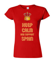 Ladies T-Shirt KEEP CALM & Support SPAIN Football Euro 2016 Espana