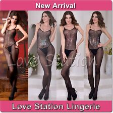 Sheer Bodystocking Open Crotch Sexy Lingerie Sequins Decoration