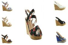 LADIES FLORAL PLAIN CORK HIGH WEDGE HEEL PLATFORM PEEP TOE ANKLE STRAP SANDALS