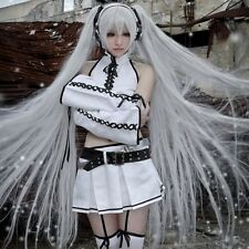 Vocaloid Hatsune Silver Black Rock Shooter Miku Cosplay Costume Full SET + WIG