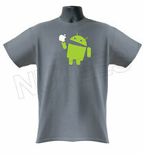 Android Robot Eats Apple Funny Geek Mens Kids T-Shirt S-XXL Sizes