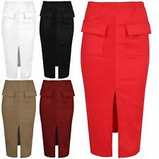 Womens Midi Skirts Ladies Front Pockets Split Cutout Stretchy Pencil Fit Bodycon