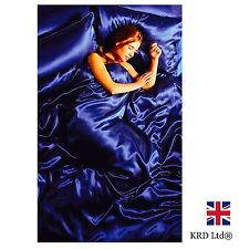 6Pcs SATIN COMPLETE BEDDING SET Silk Duvet Cover Fitted Sheet Pillows ROYAL BLUE
