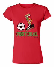 Ladies Football Boot T-Shirt PORTUGAL Supporter Top