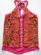 NWT CACHE Flyaway Moroccan Spice CARNIVALE Print Blouse Summer Top High Neck