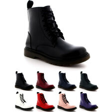 Ladies Flat Biker Punk Army Work Combat Shoes Rock Ankle Lace Up Boots All Sizes