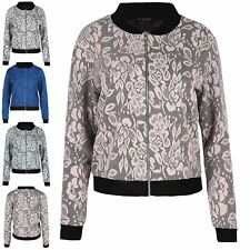 Ladies Floral Leaves Lace Zip Up Long Sleeve Womens Collared Biker Bomber Jacket