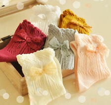 Ladies Cute Retro Vintage 50's Style Soft Cotton Ankle Socks With Lace Bow
