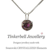 "18"" Sterling Silver Necklace with 1 Carat Swarovski Lilac Shadow Purple Crystal"