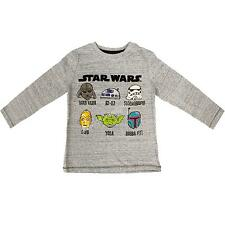 Boys Star Wars Darth Vader C-3PO Yoda R2D2 Long Sleeve Grey Top sizes from 2-10