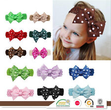 Handmade Newborn Baby Girl Kid Polka Dot Hair Bow Band Headband Hair Accessories