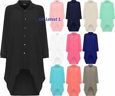 Ladies Womens Button Hi Lo Long Sleeve Collared Chiffon Shirt Dress Top 10-18.