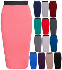 New LADIES PLAIN OFFICE WOMENS STRETCH BODYCON MIDI PENCIL SKIRT PLUS SIZE 8-26.