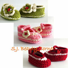 Crochet - Handmade Baby Booties / Shoes With Flowers - 0-9 Months -Brand New