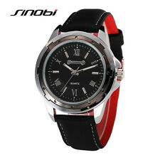 SINOBI Herren Armbanduhr Leder Herrenuhr Quartz Wrist Watch Men Sport Watches