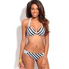 BLACK WHITE STRIPES DOTS 2PC TWO TONE HALTER BIKINI SWIMSUIT Two Piece Swimsuits
