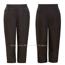 GIRLS SCHOOL UNIFORM TROUSERS GREY, NAVY, BLACK ELASTICATED TROUSERS
