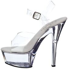 PLEASER SIZE 2.5 SMALL 3 EU KISS 208 CLEAR PERSPEX SEXY FETISH POLE DANCER SHOES