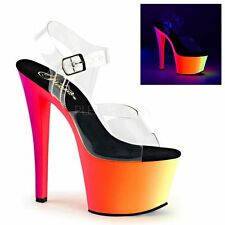 PLEASER RAINBOW-308UV Trendige Plateausandalette im Multicolor-Design